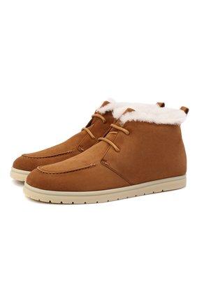 Женские замшевые ботинки LORO PIANA коричневого цвета, арт. FAL4151 | Фото 1