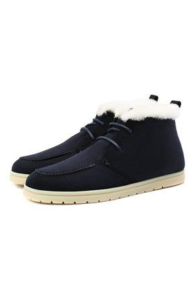 Женские замшевые ботинки LORO PIANA темно-синего цвета, арт. FAL4151 | Фото 1