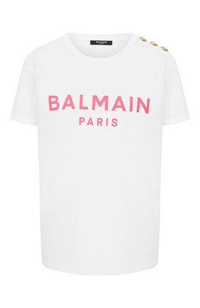 Женская хлопковая футболка BALMAIN белого цвета, арт. VF11350/B001 | Фото 1