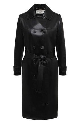 Женский двубортный плащ SAINT LAURENT черного цвета, арт. 634651/Y7B15 | Фото 1