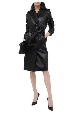 Женский двубортный плащ SAINT LAURENT черного цвета, арт. 634651/Y7B15 | Фото 2