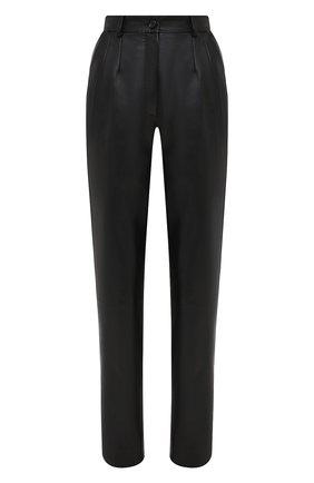 Женские кожаные брюки DOLCE & GABBANA черного цвета, арт. FTBYFL/HULJ8 | Фото 1