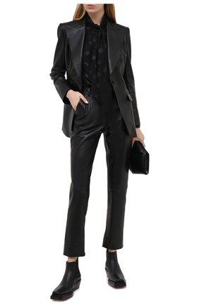 Женские кожаные брюки DOLCE & GABBANA черного цвета, арт. FTBYFL/HULJ8 | Фото 2