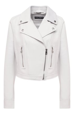Женская кожаная куртка DOLCE & GABBANA белого цвета, арт. F9H26L/HULF5 | Фото 1