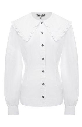 Женская хлопковая рубашка GANNI белого цвета, арт. F4326 | Фото 1
