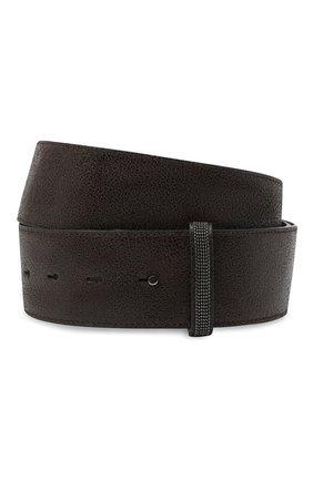 Женский кожаный ремень BRUNELLO CUCINELLI темно-серого цвета, арт. M0TAMC522 | Фото 1 (Материал: Кожа)