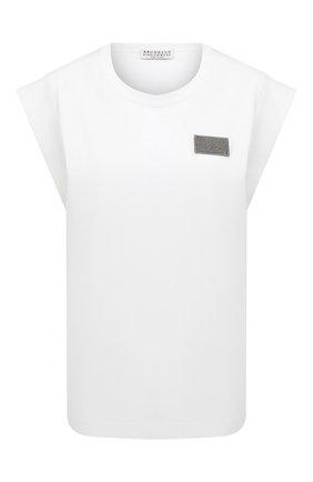 Женская хлопковая футболка BRUNELLO CUCINELLI белого цвета, арт. M0A45DG800 | Фото 1