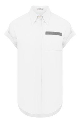 Женская хлопковая рубашка BRUNELLO CUCINELLI белого цвета, арт. M0091M0336 | Фото 1