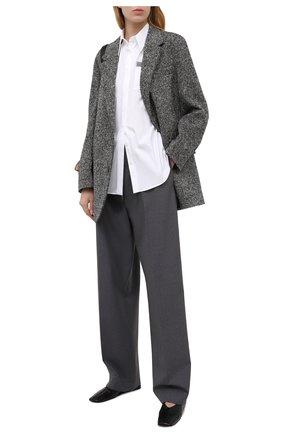 Женская хлопковая рубашка BRUNELLO CUCINELLI белого цвета, арт. M0091M0336 | Фото 2