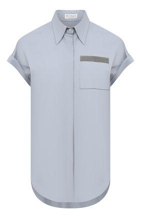 Женская хлопковая рубашка BRUNELLO CUCINELLI голубого цвета, арт. M0091M0336 | Фото 1