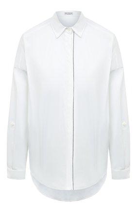 Женская хлопковая рубашка BRUNELLO CUCINELLI белого цвета, арт. M0091MA226 | Фото 1