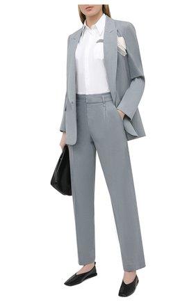 Женские брюки из льна и хлопка BRUNELLO CUCINELLI голубого цвета, арт. MF591P7589 | Фото 2