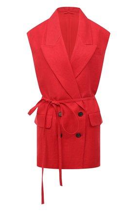 Женский льняной жилет BRUNELLO CUCINELLI красного цвета, арт. MH5062990 | Фото 1