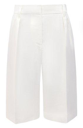Женские льняные шорты BRUNELLO CUCINELLI белого цвета, арт. MH506P7648 | Фото 1