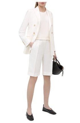 Женские льняные шорты BRUNELLO CUCINELLI белого цвета, арт. MH506P7648 | Фото 2