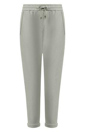 Женские хлопковые брюки BRUNELLO CUCINELLI зеленого цвета, арт. MH827SA399 | Фото 1