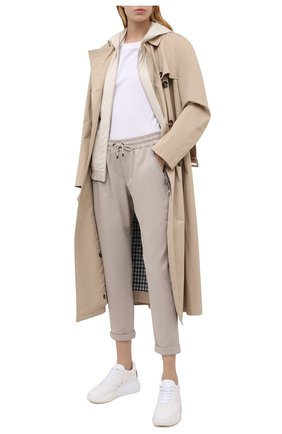 Женские хлопковые брюки BRUNELLO CUCINELLI светло-бежевого цвета, арт. MH827SA399 | Фото 2