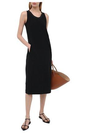 Женское хлопковое платье BRUNELLO CUCINELLI черного цвета, арт. MH968ABV81 | Фото 2