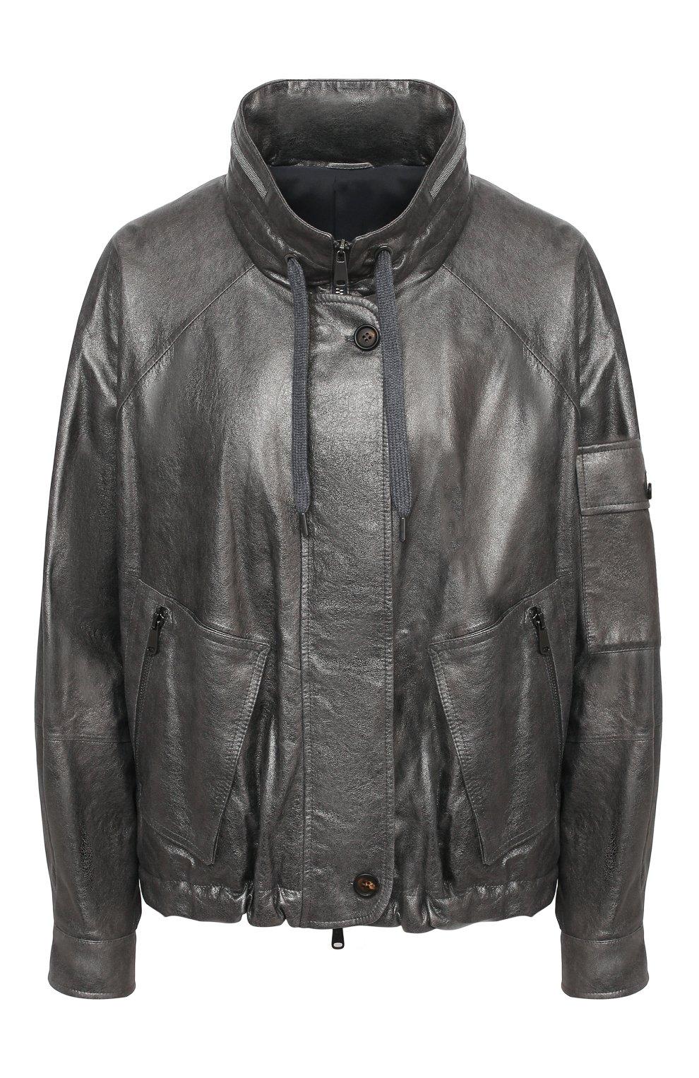 Женская кожаная куртка BRUNELLO CUCINELLI серебряного цвета, арт. M0PEL2541 | Фото 1