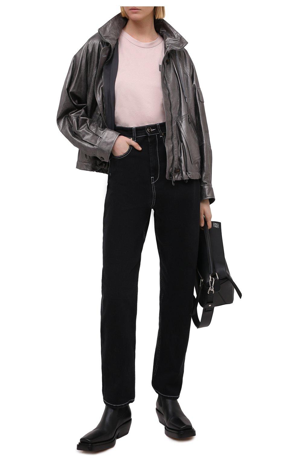 Женская кожаная куртка BRUNELLO CUCINELLI серебряного цвета, арт. M0PEL2541 | Фото 2