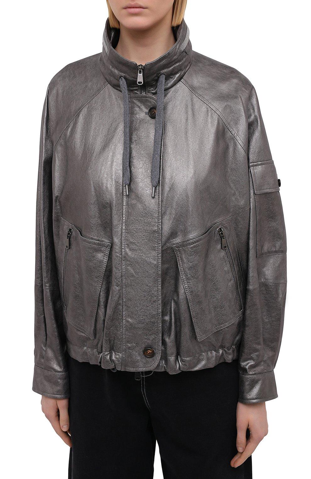 Женская кожаная куртка BRUNELLO CUCINELLI серебряного цвета, арт. M0PEL2541 | Фото 3
