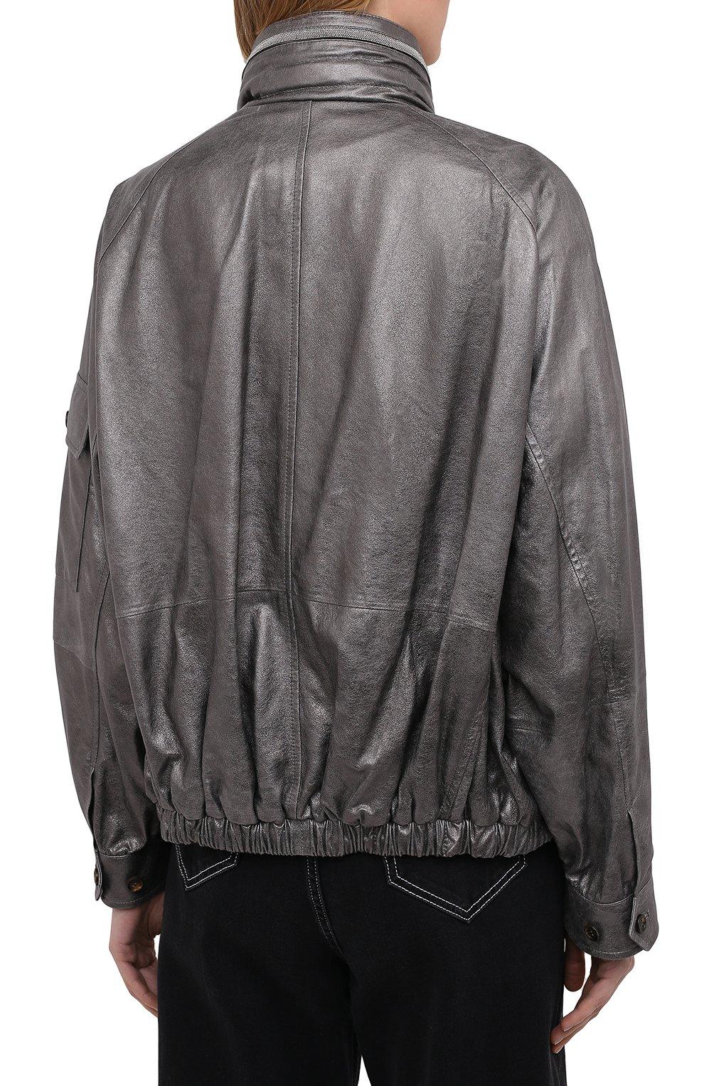 Женская кожаная куртка BRUNELLO CUCINELLI серебряного цвета, арт. M0PEL2541 | Фото 4