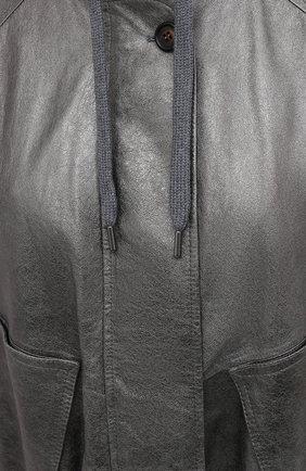 Женская кожаная куртка BRUNELLO CUCINELLI серебряного цвета, арт. M0PEL2541 | Фото 5