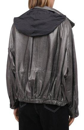 Женская кожаная куртка BRUNELLO CUCINELLI серебряного цвета, арт. M0PEL2541 | Фото 6