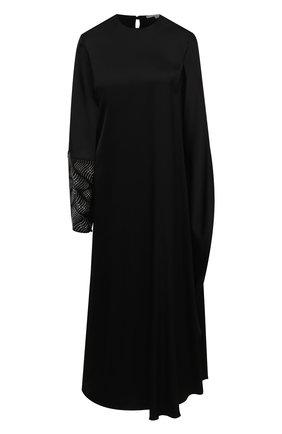 Женское платье из вискозы STELLA MCCARTNEY черного цвета, арт. 602312/SPA32 | Фото 1 (Рукава: Длинные; Материал внешний: Вискоза; Женское Кросс-КТ: Платье-одежда; Стили: Кэжуэл; Длина Ж (юбки, платья, шорты): Макси; Случай: Повседневный)