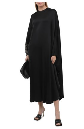 Женское платье из вискозы STELLA MCCARTNEY черного цвета, арт. 602312/SPA32 | Фото 2 (Рукава: Длинные; Материал внешний: Вискоза; Женское Кросс-КТ: Платье-одежда; Стили: Кэжуэл; Длина Ж (юбки, платья, шорты): Макси; Случай: Повседневный)