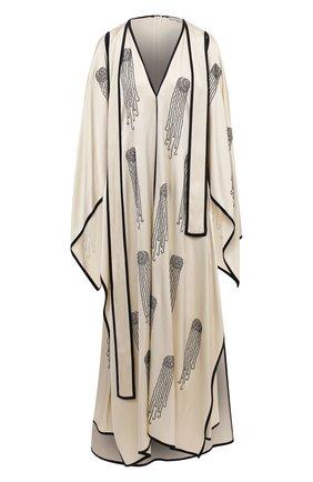 Женское платье из вискозы STELLA MCCARTNEY бежевого цвета, арт. 602163/SPA32 | Фото 1 (Женское Кросс-КТ: Платье-одежда; Стили: Романтичный; Рукава: Короткие; Материал внешний: Вискоза; Длина Ж (юбки, платья, шорты): Макси; Случай: Вечерний)