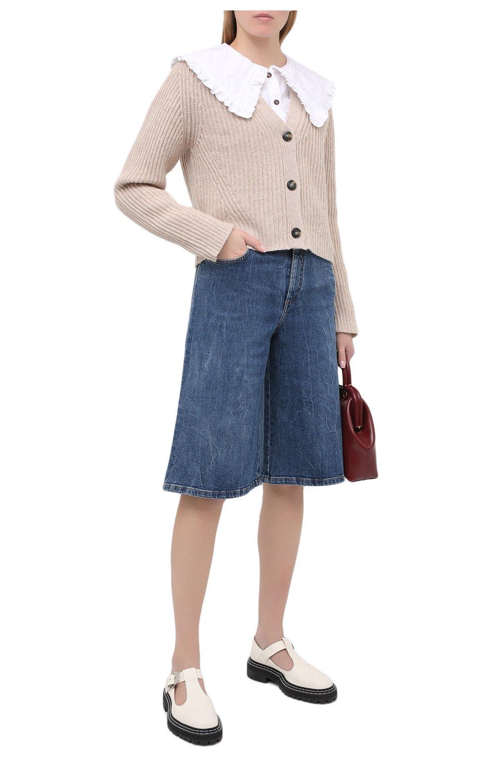 Женские джинсовые шорты STELLA MCCARTNEY синего цвета, арт. 601800/S0H02   Фото 2 (Женское Кросс-КТ: Шорты-одежда; Кросс-КТ: Деним, Широкие; Материал внешний: Хлопок; Длина Ж (юбки, платья, шорты): Миди; Стили: Кэжуэл)