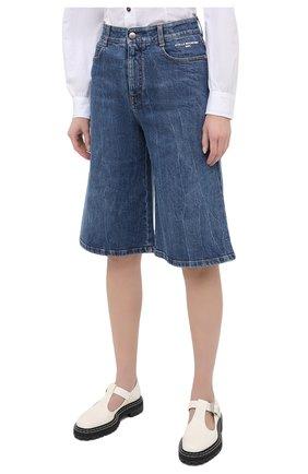 Женские джинсовые шорты STELLA MCCARTNEY синего цвета, арт. 601800/S0H02   Фото 3 (Женское Кросс-КТ: Шорты-одежда; Кросс-КТ: Деним, Широкие; Материал внешний: Хлопок; Длина Ж (юбки, платья, шорты): Миди; Стили: Кэжуэл)