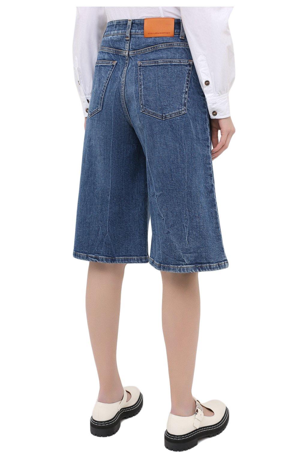 Женские джинсовые шорты STELLA MCCARTNEY синего цвета, арт. 601800/S0H02   Фото 4 (Женское Кросс-КТ: Шорты-одежда; Кросс-КТ: Деним, Широкие; Материал внешний: Хлопок; Длина Ж (юбки, платья, шорты): Миди; Стили: Кэжуэл)