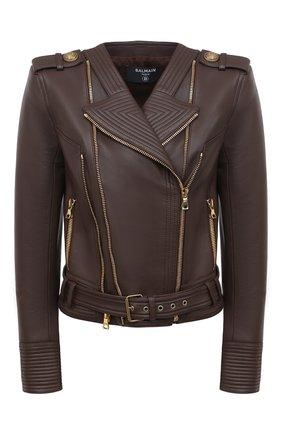 Женская кожаная куртка BALMAIN темно-коричневого цвета, арт. UF08253/L069 | Фото 1