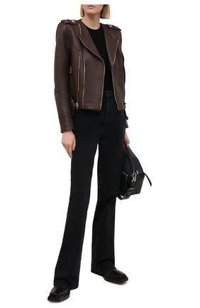 Женская кожаная куртка BALMAIN темно-коричневого цвета, арт. UF08253/L069 | Фото 2