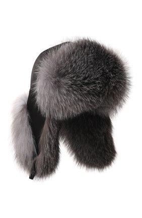 Мужская шапка-ушанка из меха лисы KUSSENKOVV черного цвета, арт. 330905523159 | Фото 1