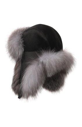Мужская шапка-ушанка из меха лисы KUSSENKOVV черного цвета, арт. 330905523159 | Фото 2