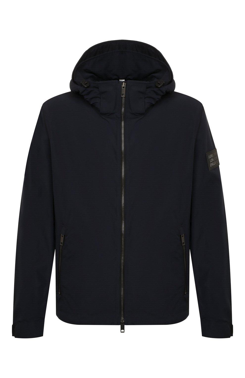Мужская утепленная куртка BURBERRY синего цвета, арт. 8014364 | Фото 1 (Кросс-КТ: Куртка; Рукава: Длинные; Материал внешний: Синтетический материал; Мужское Кросс-КТ: утепленные куртки; Материал подклада: Синтетический материал; Длина (верхняя одежда): Короткие; Стили: Кэжуэл)