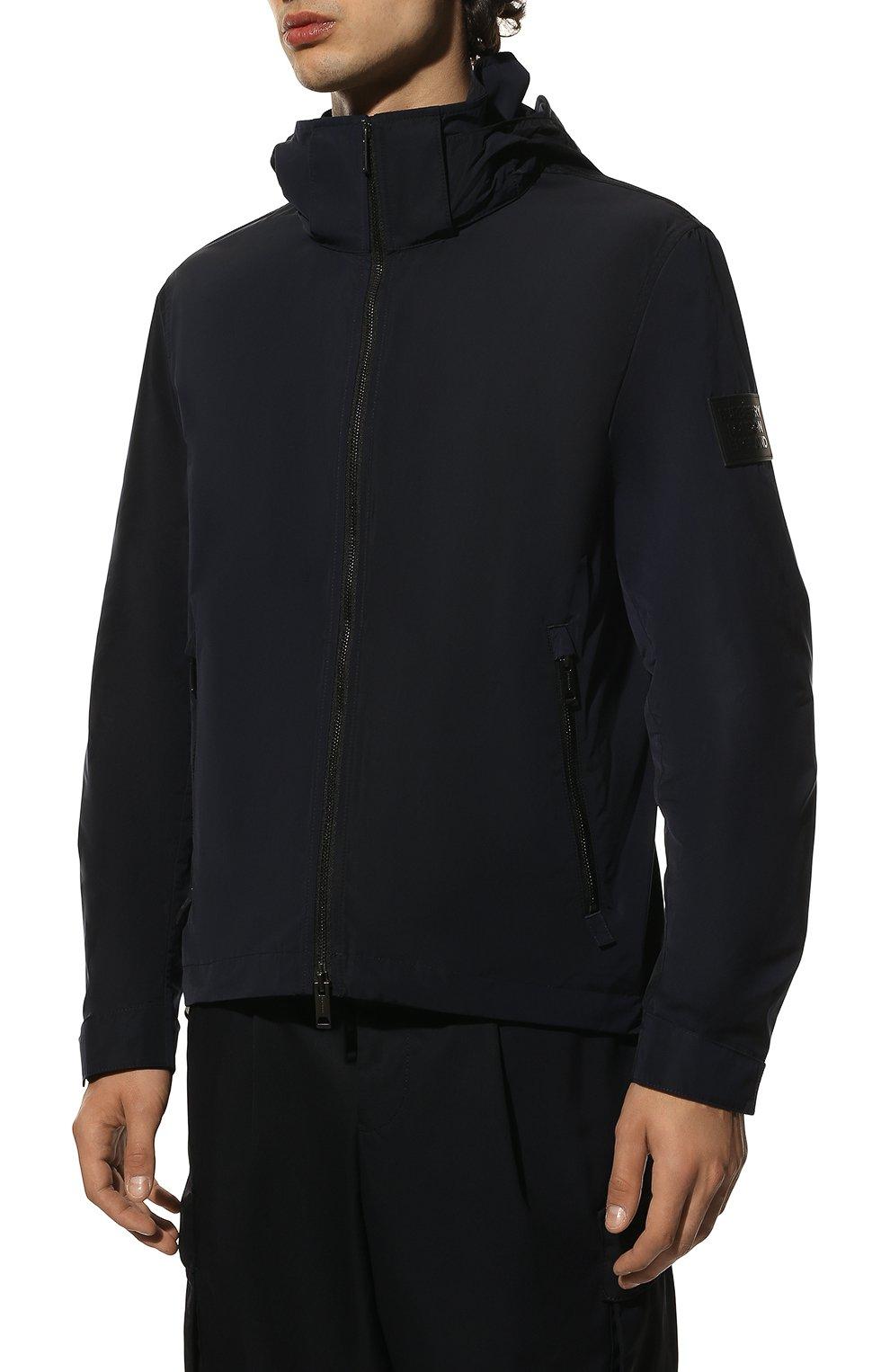 Мужская утепленная куртка BURBERRY синего цвета, арт. 8014364 | Фото 3 (Кросс-КТ: Куртка; Рукава: Длинные; Материал внешний: Синтетический материал; Мужское Кросс-КТ: утепленные куртки; Материал подклада: Синтетический материал; Длина (верхняя одежда): Короткие; Стили: Кэжуэл)