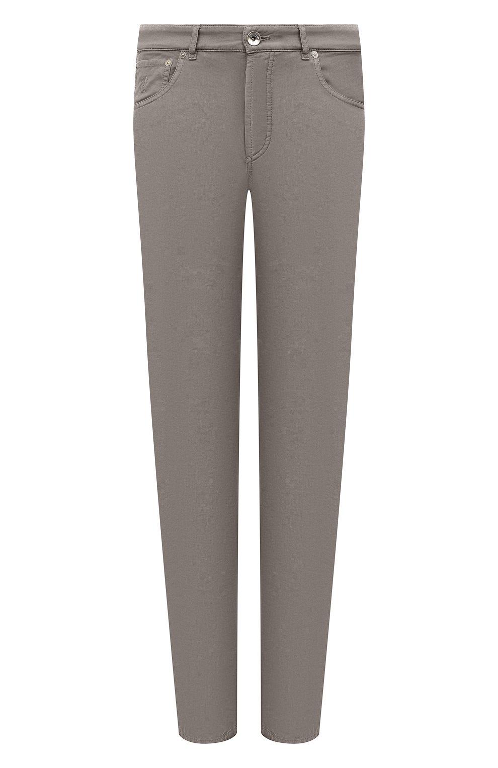 Мужские хлопковые брюки BRUNELLO CUCINELLI хаки цвета, арт. M274DB1780   Фото 1
