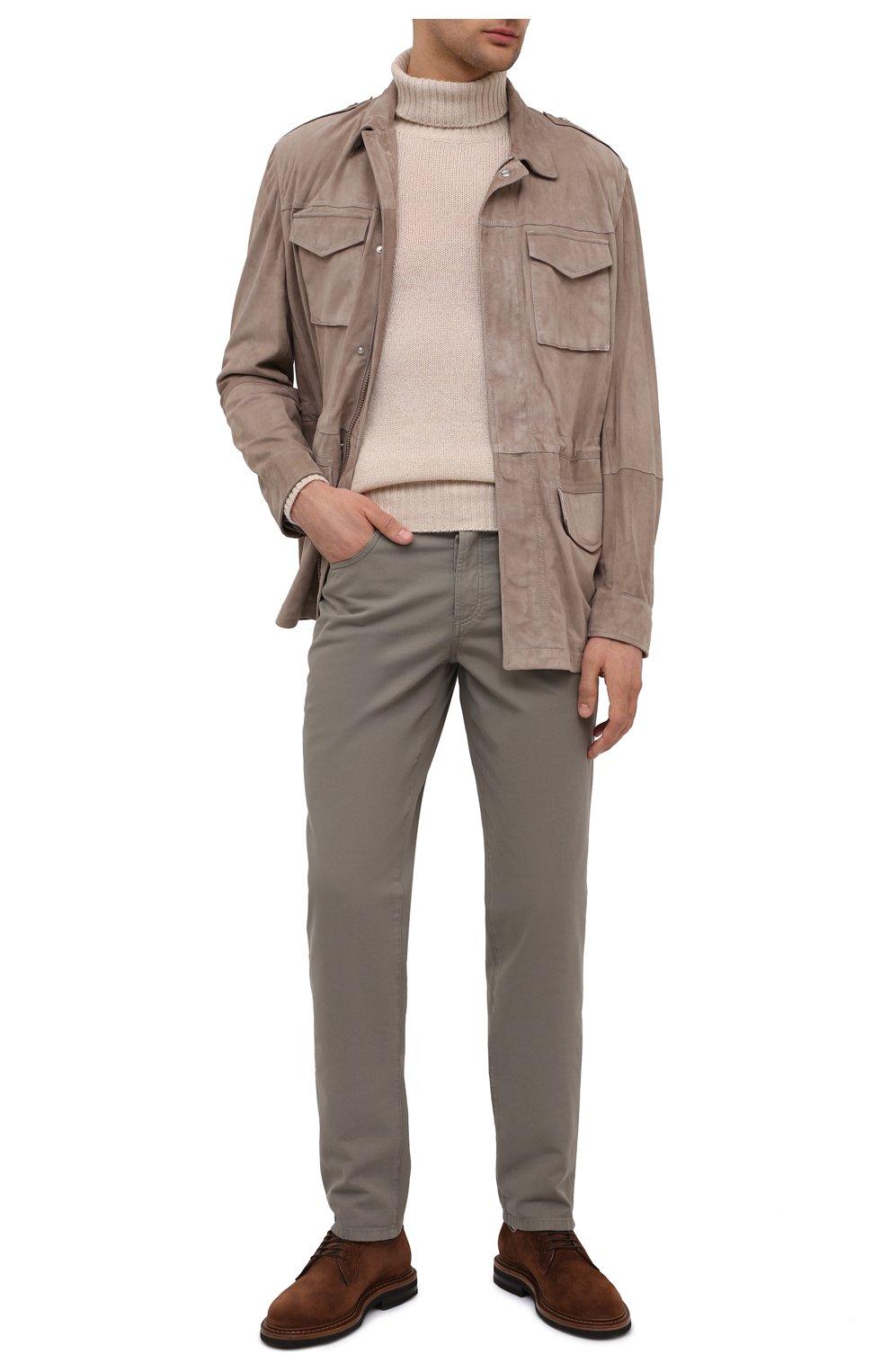 Мужские хлопковые брюки BRUNELLO CUCINELLI хаки цвета, арт. M274DB1780   Фото 2