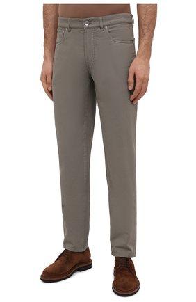 Мужские хлопковые брюки BRUNELLO CUCINELLI хаки цвета, арт. M274DB1780   Фото 3