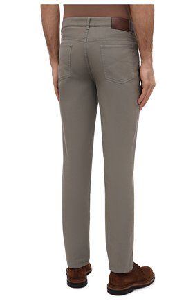 Мужские хлопковые брюки BRUNELLO CUCINELLI хаки цвета, арт. M274DB1780   Фото 4