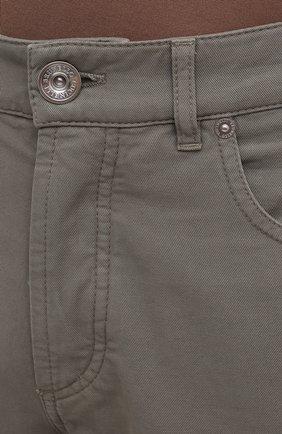 Мужские хлопковые брюки BRUNELLO CUCINELLI хаки цвета, арт. M274DB1780   Фото 5