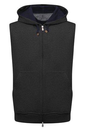 Мужской хлопковый жилет BRUNELLO CUCINELLI темно-серого цвета, арт. M0T319079G | Фото 1