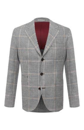 Мужской пиджак изо льна и шерсти BRUNELLO CUCINELLI серого цвета, арт. MW4087BND   Фото 1