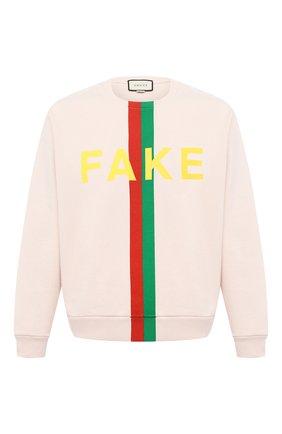 Мужской хлопковый свитшот «fake/not» GUCCI кремвого цвета, арт. 635847/XJCXY   Фото 1
