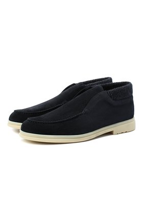 Мужские замшевые ботинки open wintery walk LORO PIANA темно-синего цвета, арт. FAL4735 | Фото 1