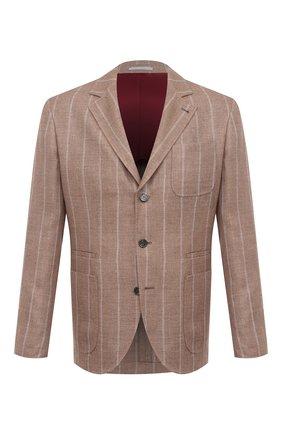 Мужской пиджак изо льна и шерсти BRUNELLO CUCINELLI бежевого цвета, арт. MD4927BND | Фото 1